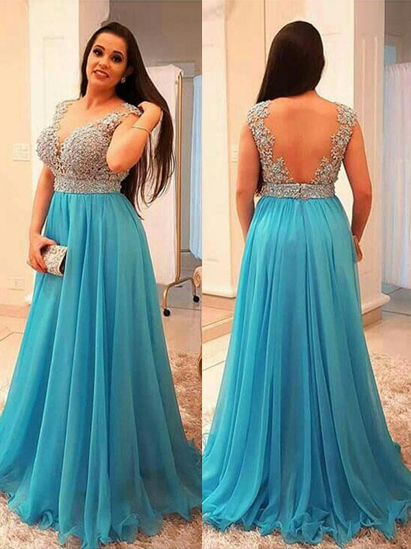 Blue Chiffon V-neck A-Line/Princess Floor-Length Plus Size Dresses