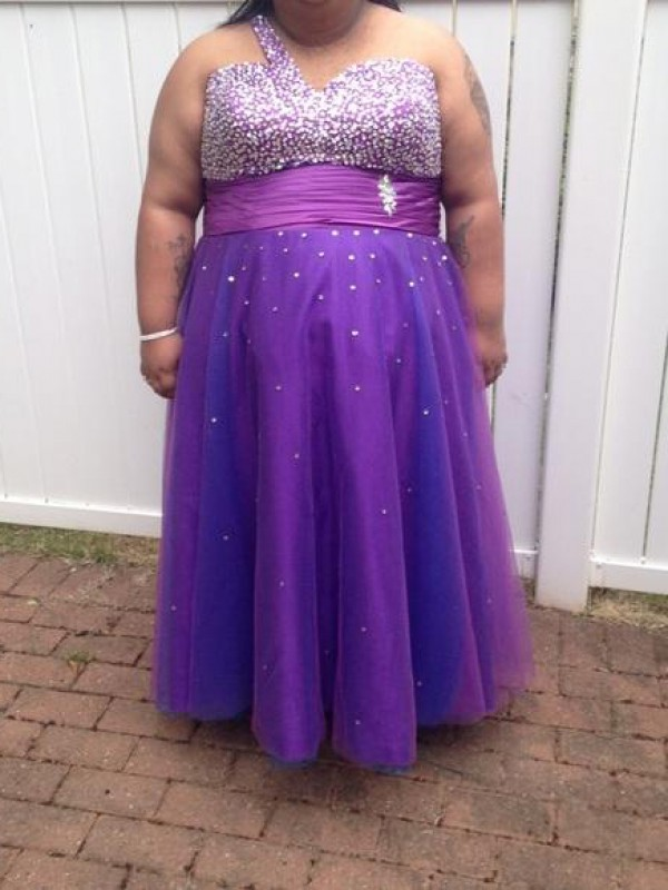 Grape Tulle One-Shoulder A-Line/Princess Floor-Length Plus Size Dresses