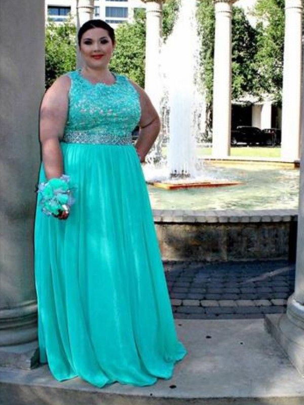 Blue Chiffon Scoop A-Line/Princess Floor-Length Plus Size Dresses
