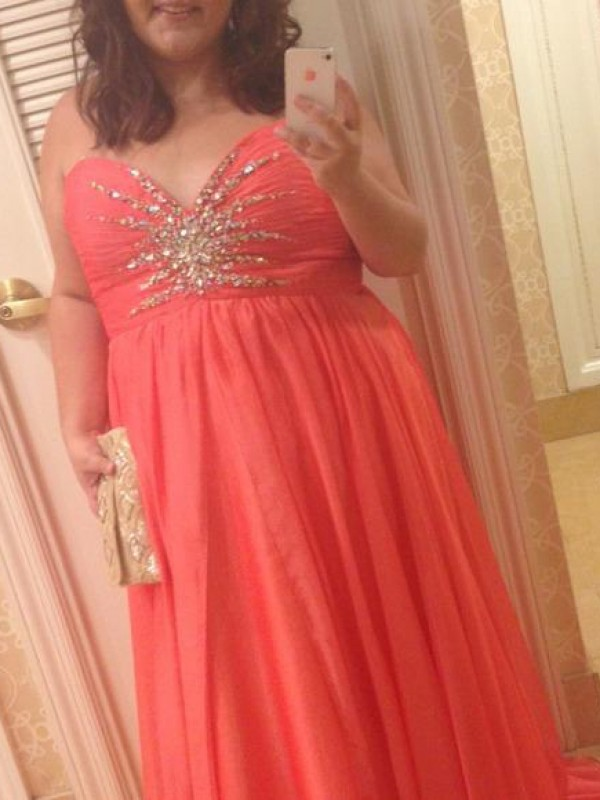 Watermelon Chiffon Sweetheart A-Line/Princess Floor-Length Plus Size Dresses