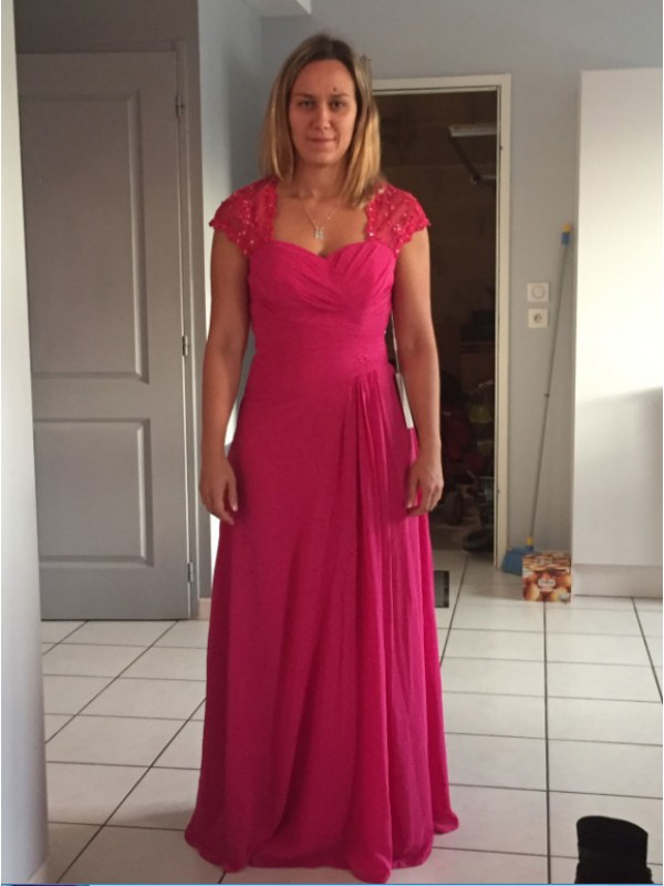 Fuchsia Chiffon Sweetheart Sheath/Column Floor-Length Mother of the Bride Dresses