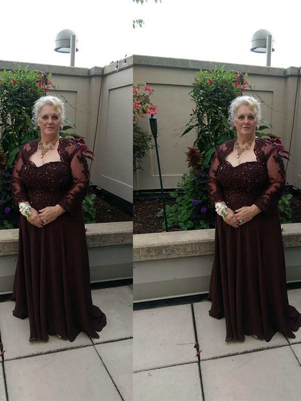 Brown Chiffon Sweetheart A-Line/Princess Sweep/Brush Train Mother of the Bride Dresses