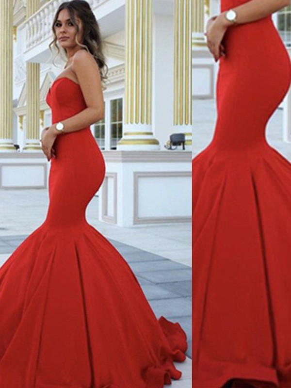 Red Satin Sweetheart Trumpet/Mermaid Sweep/Brush Train Prom Dresses