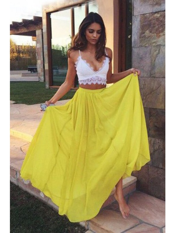 Daffodil Chiffon Straps A-Line/Princess Floor-Length Prom Dresses
