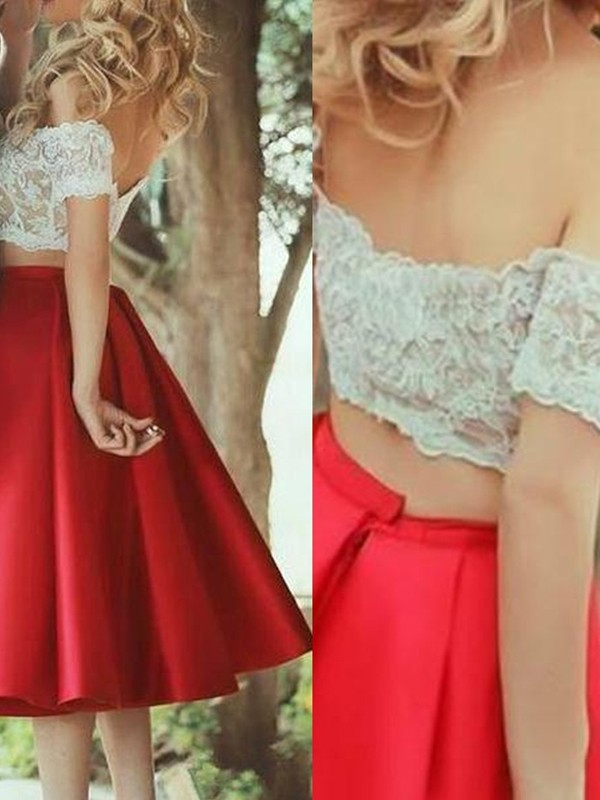 Red Satin Off-the-Shoulder A-Line/Princess Knee-Length Prom Dresses