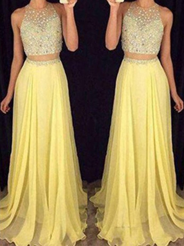 Daffodil Chiffon Scoop A-Line/Princess Floor-Length Prom Dresses
