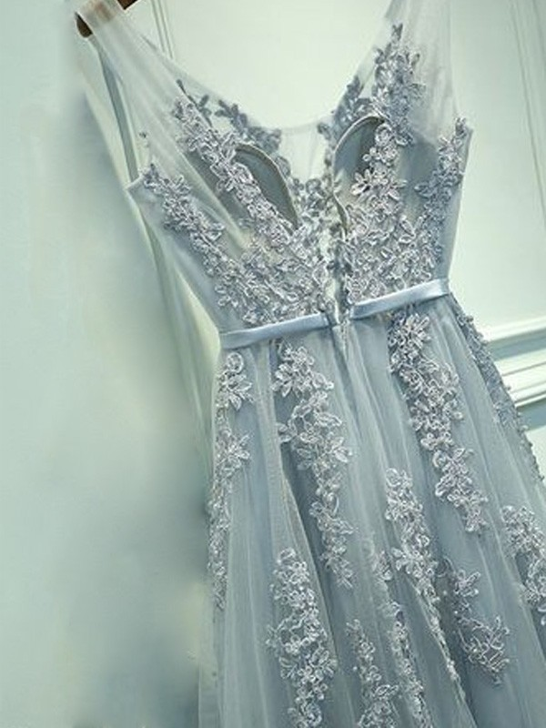 Grey Tulle V-neck A-Line/Princess Floor-Length Prom Dresses