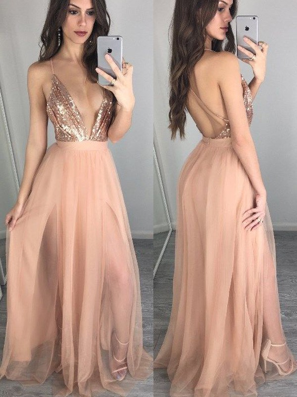 Pink Chiffon Spaghetti Straps A-Line/Princess Floor-Length Prom Dresses
