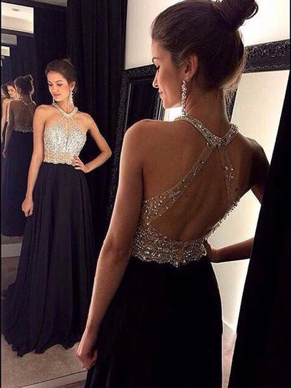 Black Chiffon Halter A-Line/Princess Sweep/Brush Train Prom Dresses