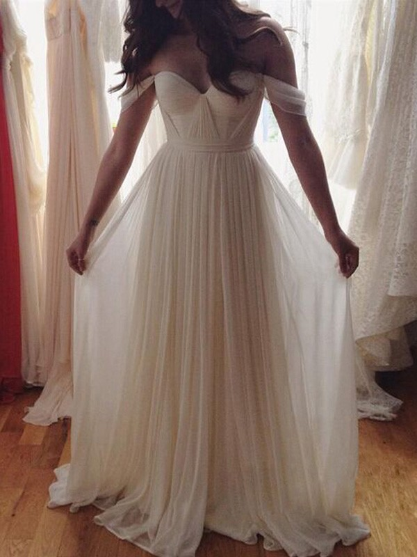 Ivory Chiffon Off-the-Shoulder A-Line/Princess Floor-Length Prom Dresses