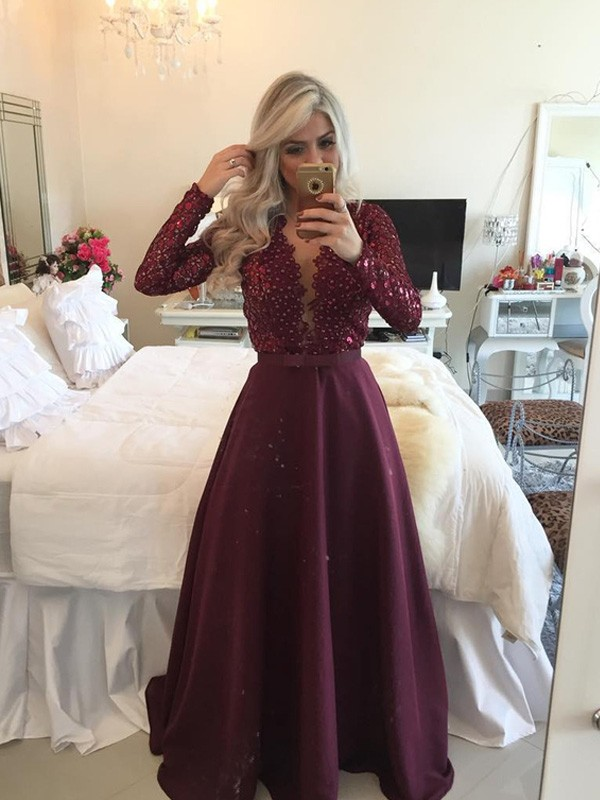 Burgundy Satin Scoop A-Line/Princess Floor-Length Prom Dresses