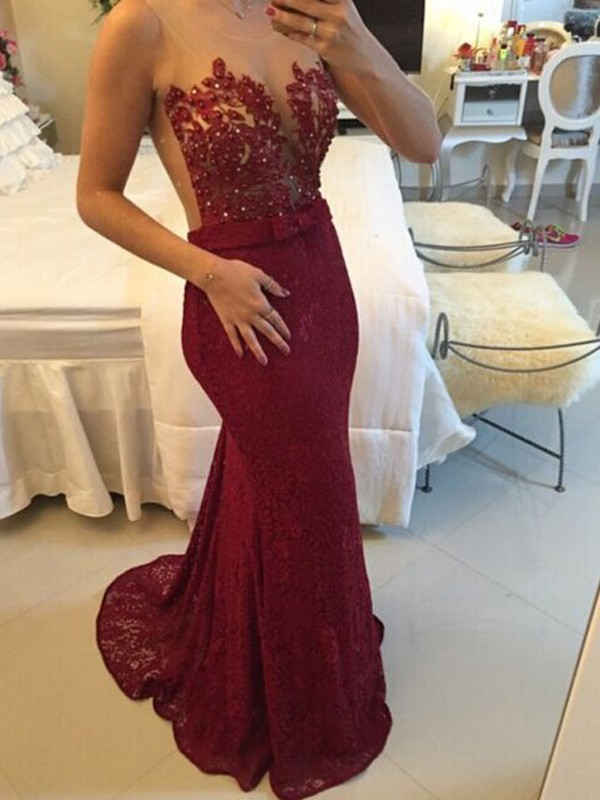 Burgundy Lace Scoop Sheath/Column Sweep/Brush Train Prom Dresses