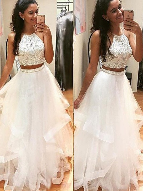 White Tulle Halter A-Line/Princess Floor-Length Prom Dresses