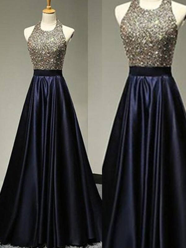 Dark Navy Satin Halter A-Line/Princess Floor-Length Prom Dresses