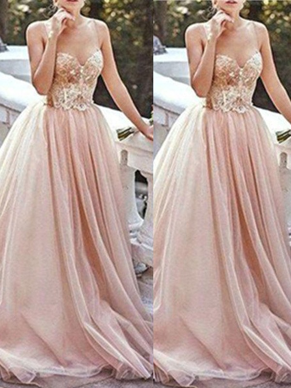 Ivory Tulle Sweetheart A-Line/Princess Sweep/Brush Train Prom Dresses