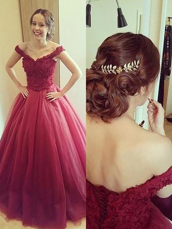 Burgundy Tulle Off-the-Shoulder Ball Gown Court Train Prom Dresses