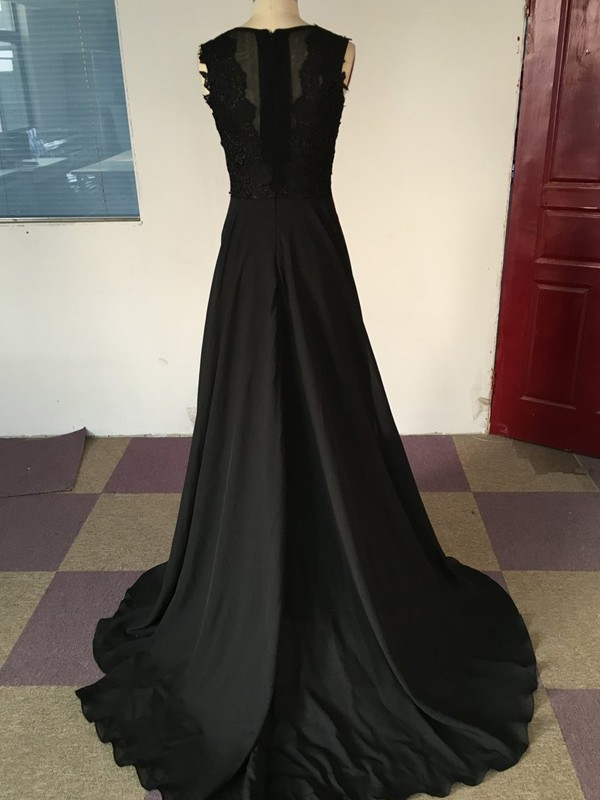 Black Chiffon Scoop A-Line/Princess Sweep/Brush Train Prom Dresses