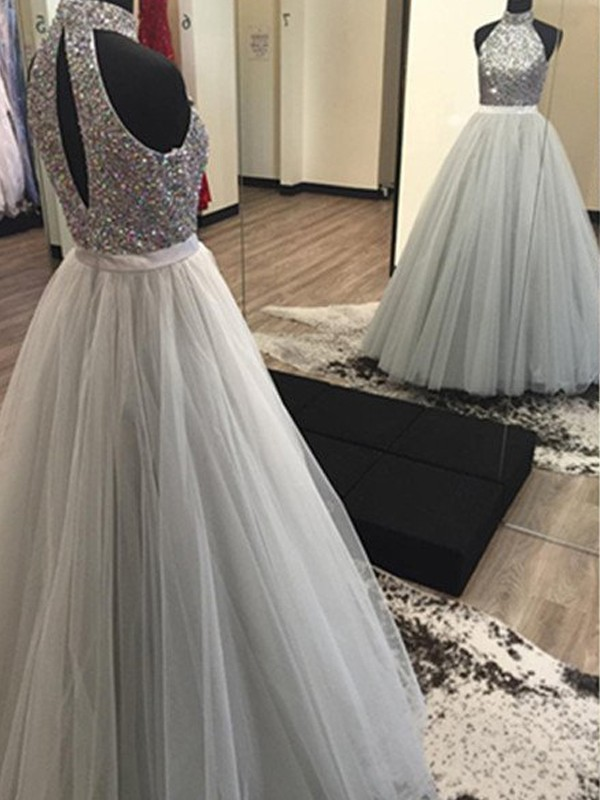 Silver Tulle Halter A-Line/Princess Floor-Length Prom Dresses