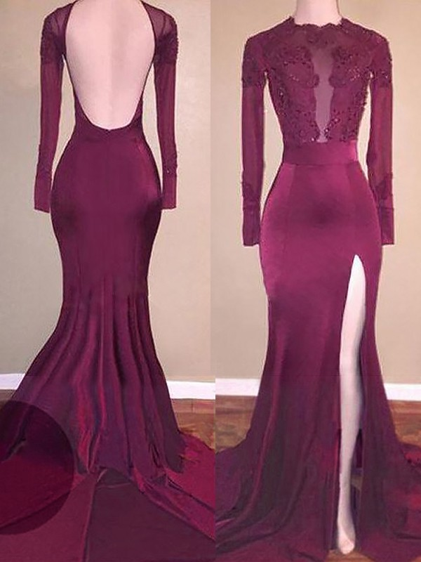 Burgundy Satin Scoop Trumpet/Mermaid Sweep/Brush Train Prom Dresses