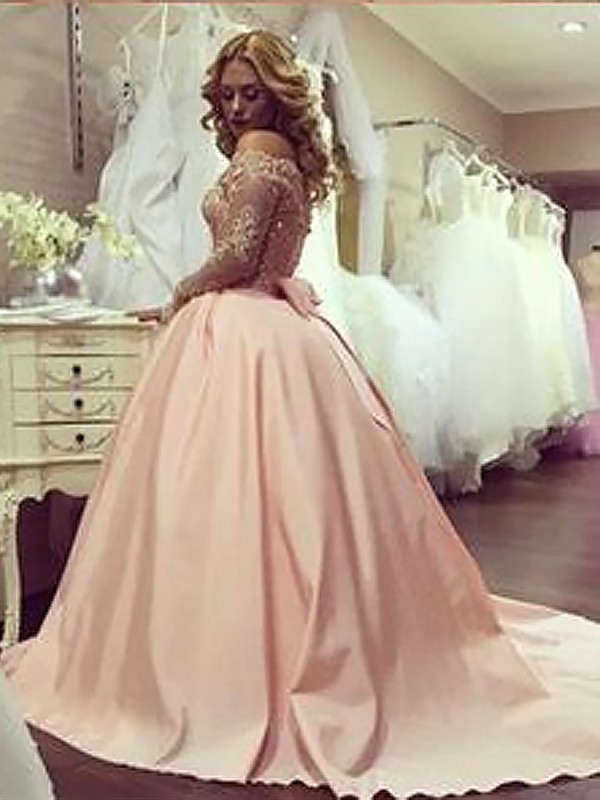 Pink Satin Off-the-Shoulder Ball Gown Court Train Dresses