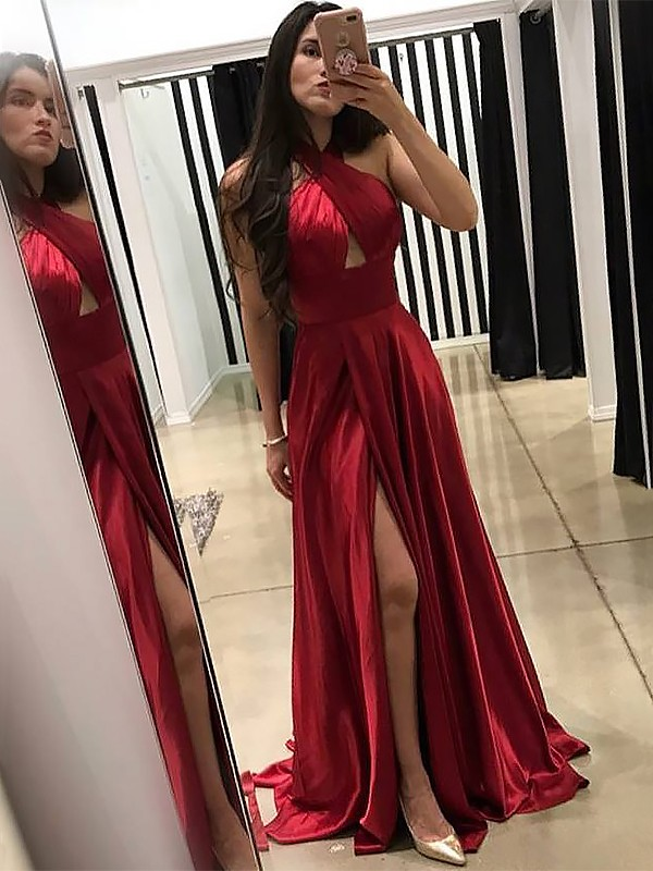Red Silk like Satin Halter A-Line/Princess Sweep/Brush Train Dresses
