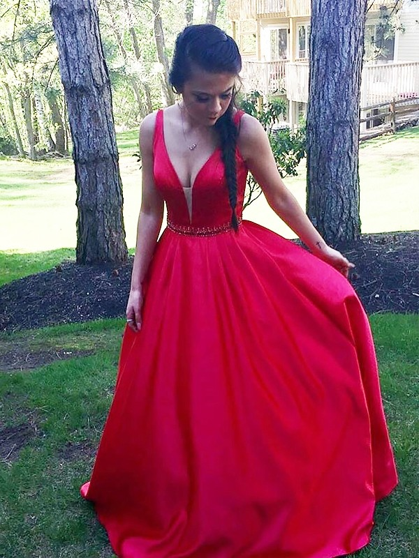 Red Satin V-neck A-Line/Princess Floor-Length Dresses