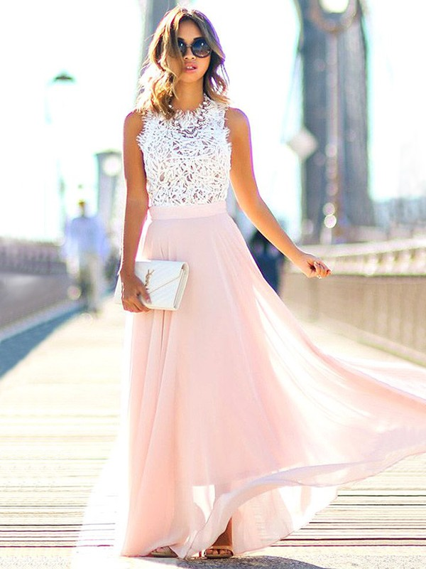 Pearl Pink Chiffon Jewel A-Line/Princess Floor-Length Dresses