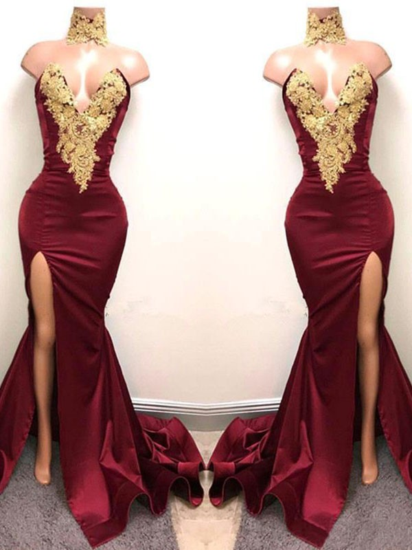 Burgundy Satin Sweetheart Trumpet/Mermaid Sweep/Brush Train Dresses