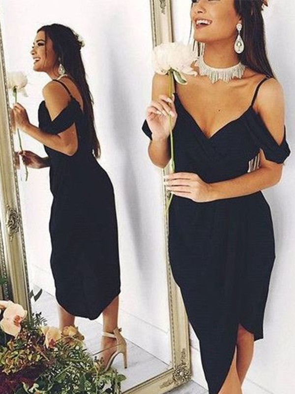 Black Spandex Spaghetti Straps Sheath/Column Asymmetrical Dresses