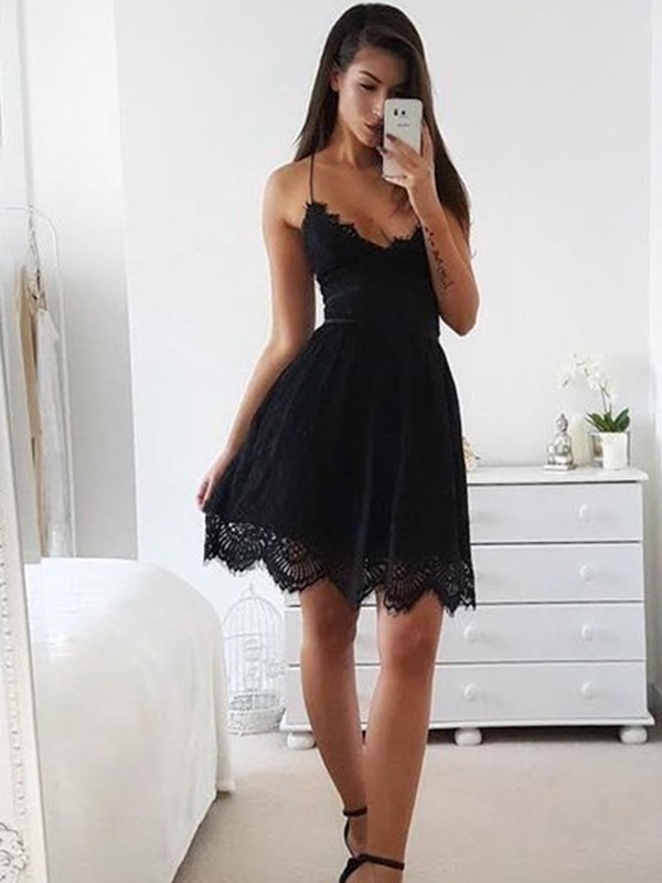 Black Lace Spaghetti Straps A-Line/Princess Short/Mini Dresses