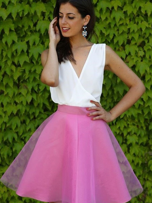 Fuchsia Tulle V-neck A-Line/Princess Short/Mini Dresses