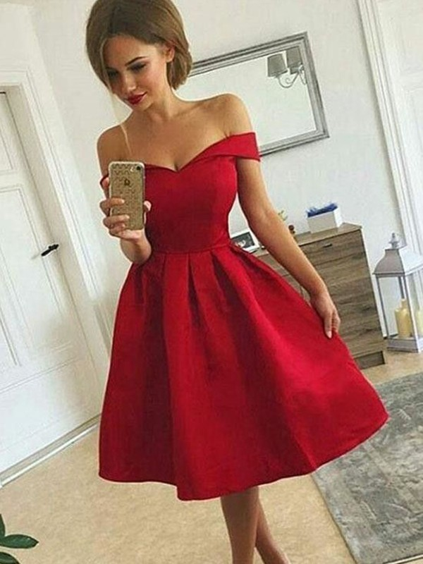 Red Satin Off-the-Shoulder A-Line/Princess Short/Mini Dresses
