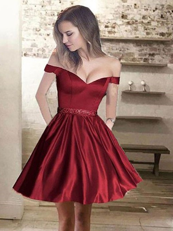Burgundy Satin Off-the-Shoulder A-Line/Princess Short/Mini Dresses