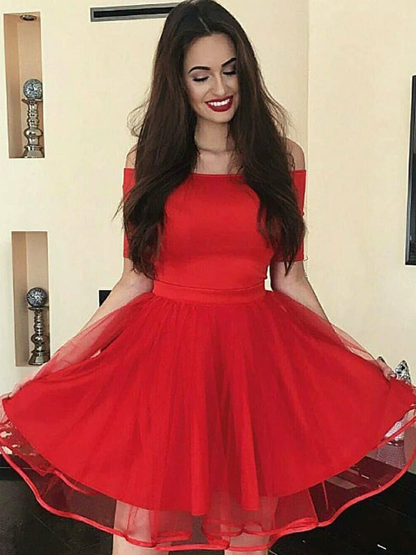 Red Organza Off-the-Shoulder A-Line/Princess Short/Mini Dresses