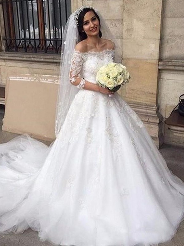 White Tulle Off-the-Shoulder Ball Gown Chapel Train Wedding Dresses