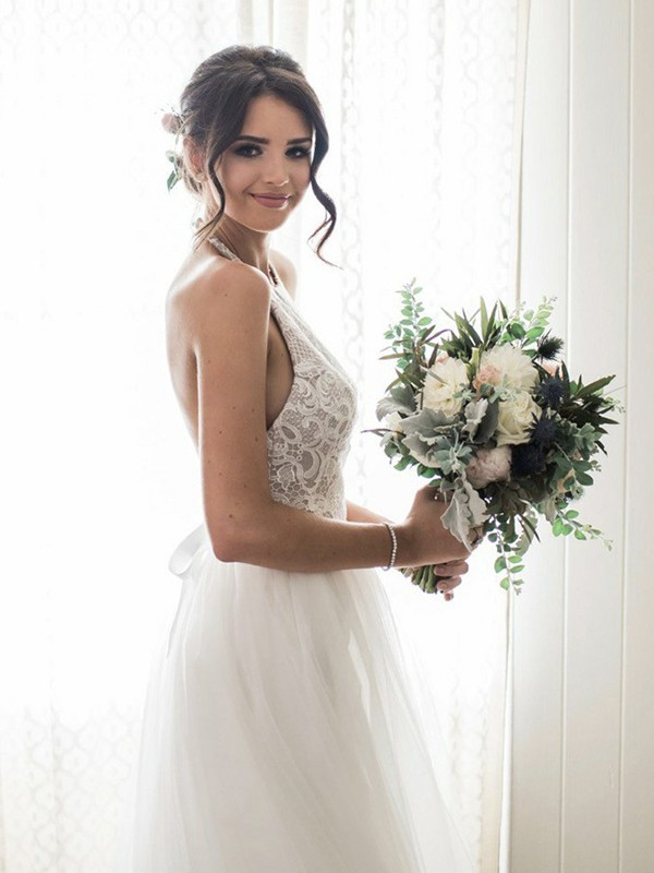White Tulle Halter A-Line/Princess Floor-Length Wedding Dresses