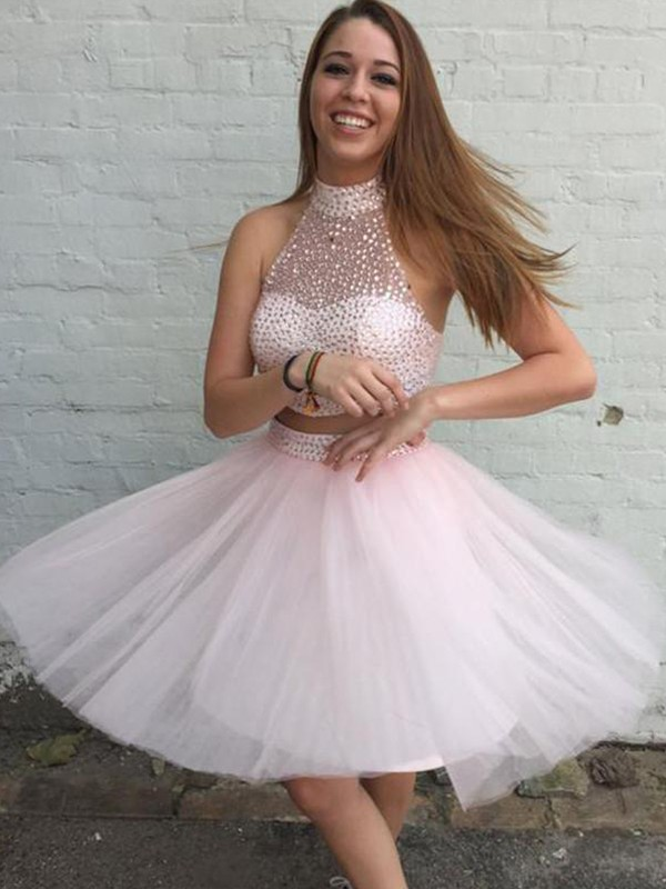 Pearl Pink Tulle High Neck A-Line/Princess Short/Mini Dresses