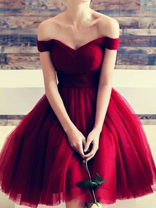 Red Tulle Off-the-Shoulder A-Line/Princess Short/Mini Dresses