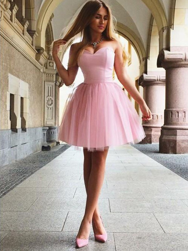 Pearl Pink Satin Sweetheart A-Line/Princess Short/Mini Dresses