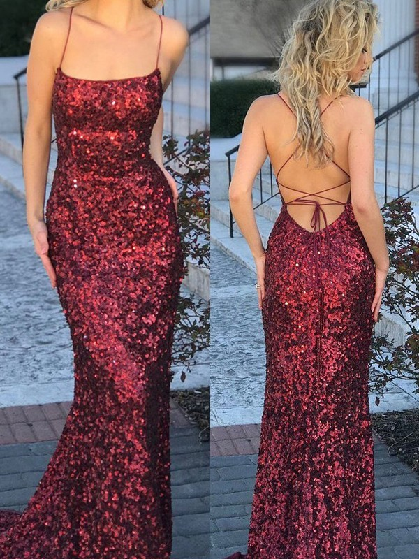 Burgundy Sequins Spaghetti Straps Trumpet/Mermaid Sweep/Brush Train Dresses