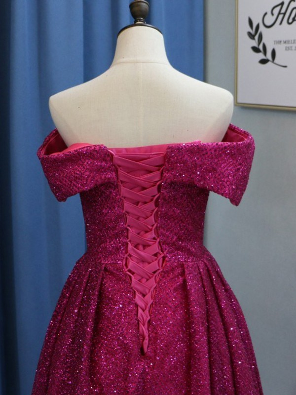Fuchsia Sequins Off-the-Shoulder Ball Gown Sweep/Brush Train Dresses