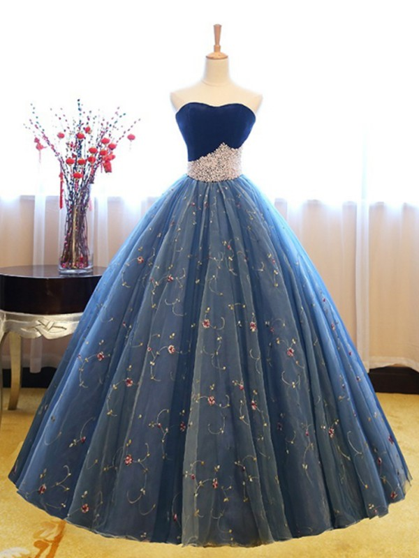 Blue Net Sweetheart Ball Gown Floor-Length Dresses