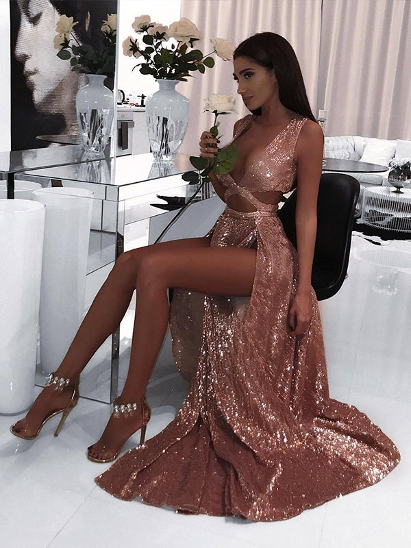 Pink Sequins V-neck A-Line/Princess Floor-Length Dresses