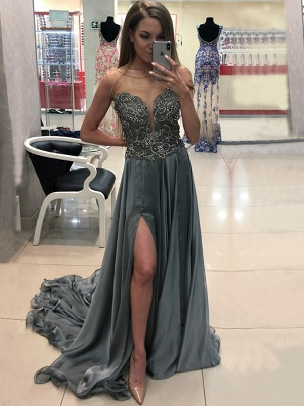 Grey Chiffon Bateau A-Line/Princess Sweep/Brush Train Dresses