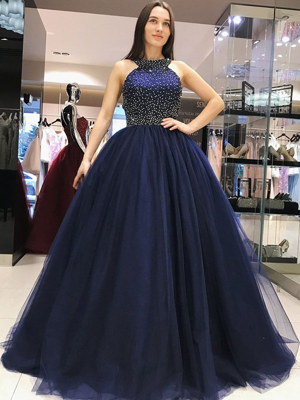 Dark Navy Tulle Halter Ball Gown Sweep/Brush Train Dresses