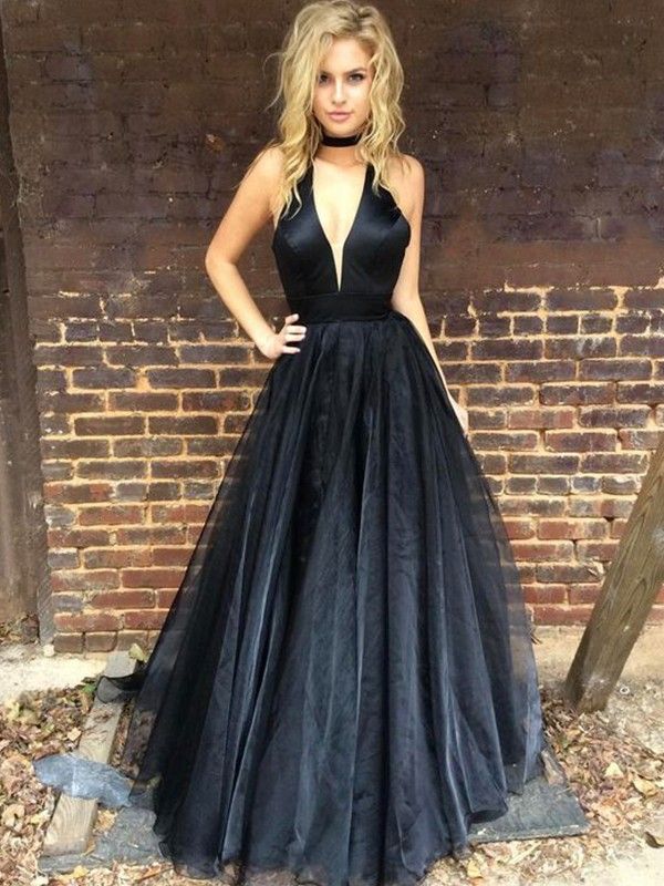 Dark Navy Tulle V-neck A-Line/Princess Floor-Length Dresses