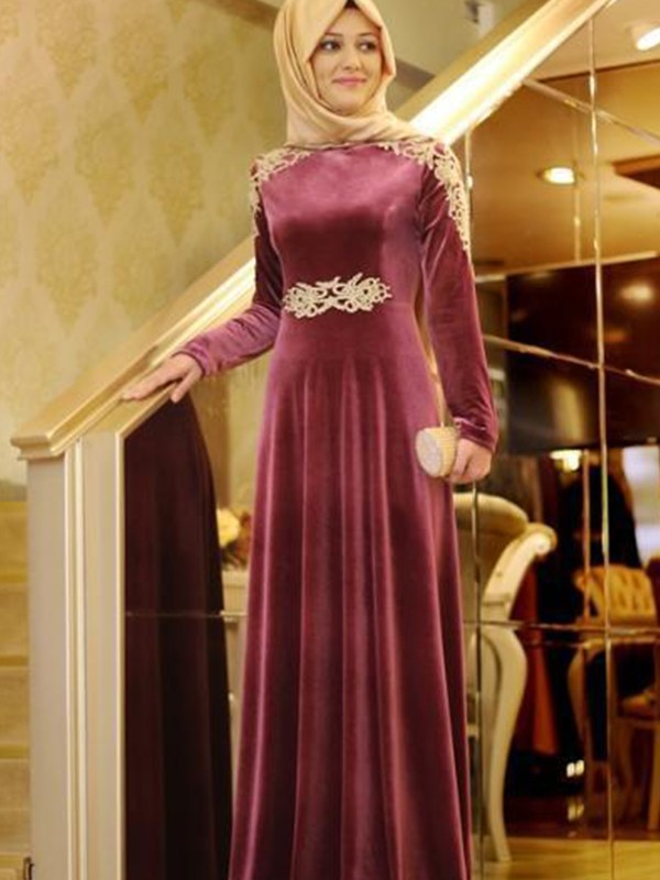 Burgundy Velvet Scoop A-Line/Princess Floor-Length Dresses