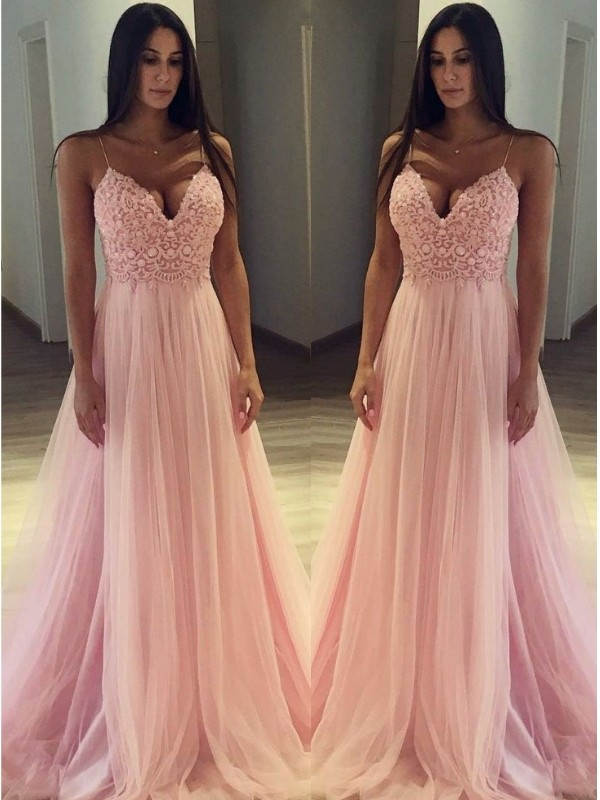 Pink Tulle Spaghetti Straps A-Line/Princess Sweep/Brush Train Dresses