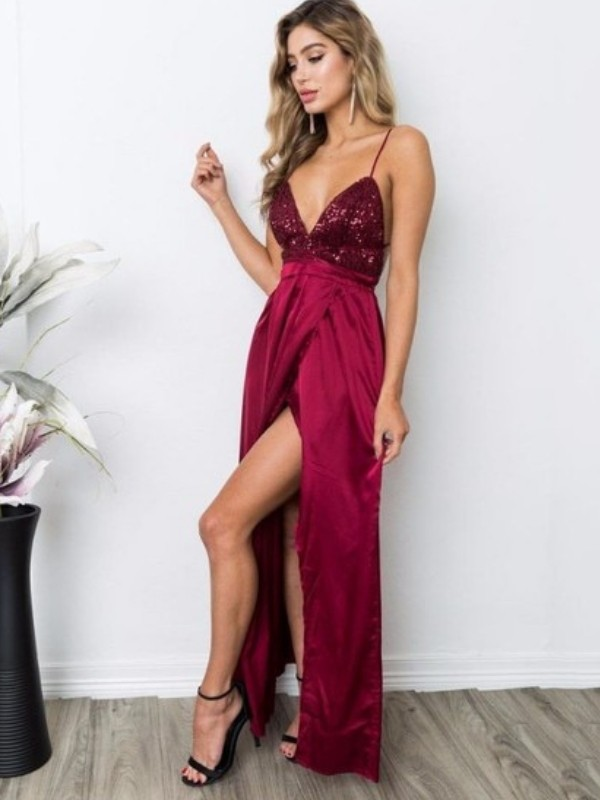 Burgundy Silk like Satin Straps A-Line/Princess Floor-Length Dresses