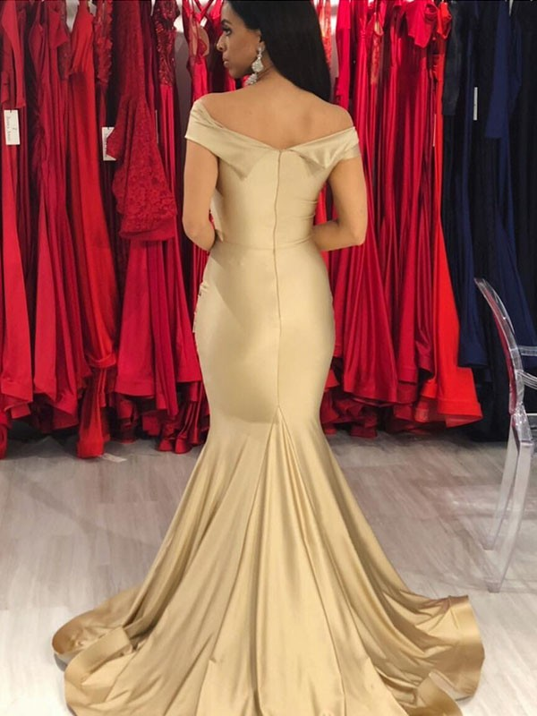 Champagne Spandex Off-the-Shoulder Trumpet/Mermaid Sweep/Brush Train Dresses